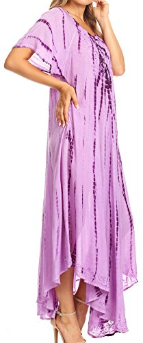 Sakkas Melika Abbindebatik Kaftan Kleid Lila