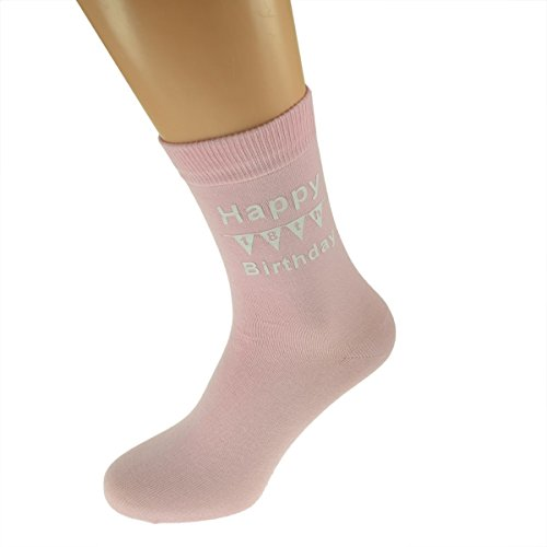 Happy 18th Birthday with BUNTING Printed on Pink Womens Socks for 18th Birthday Present
