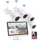 Wireless Home Security Cameras System with 15.6Inch Monitor,4CH 1080P NVR Outdoor Surveillance System
