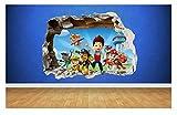 Sticker mural en vinyle façon «mur cassé» 3D, imprimé La Pat'Patrouille,...