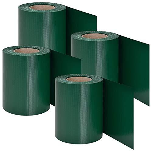 Juskys PVC Sichtschutzstreifen Doppelstabmatten Zaun 4er Set | 4 Rollen á 35m x 19 cm | 120 Befestigungsclips | grün | Sichtschutz Windschutz Garten