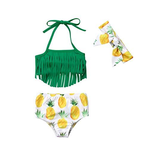 Kleinkind Baby Mädchen Bademode Set grün Neckholder Fransen Tops + Floral Ananas Print Bottoms + Stirnband 3 Stück Outfit Set für 0-2 Jahre (18-24 Monate, Grün) (Kleinkind Bademode Für Mädchen)