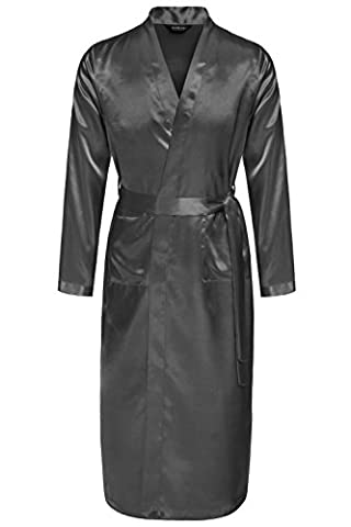 Avidlove Men Robes Long Satin Bathrobe Lightweight Sleepwear Gray L