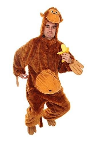 Affenkostüm gold-braun für Erwachsene | Größe 46-50 Herren / 36-42 Damen | Gorilla Einteiler Kostüm mit Banane | Tierkostüm Unisex Faschingskostüm | Tier (Baby Sm Kostüme)