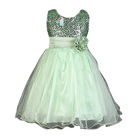 Sommer-Baby-Mädchen-Blumen-Sleeveless Prinzessin-Festzug-Kleid für Geburtstags-Hochzeits-Partei-Grün / 110cm / 2-3Y