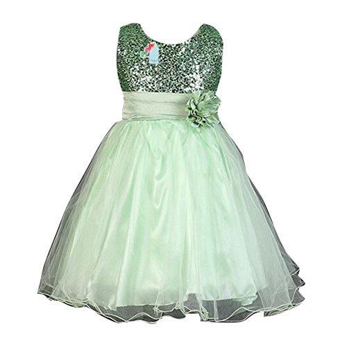Kleid Märchen Mädchen (Sommer-Baby-Mädchen-Blumen-Sleeveless Prinzessin-Festzug-Kleid für Geburtstags-Hochzeits-Partei-Grün / 110cm /)