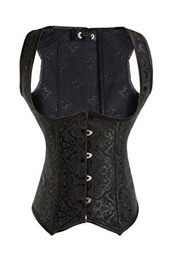 MISS MOLY Damen Vintage Brokat Unterbrust Taillen Korsett Stahl Ohne Knochen Corsage, Größe 3XL, Farbe Schwarz (Leder-taillenkorsett Korsett)