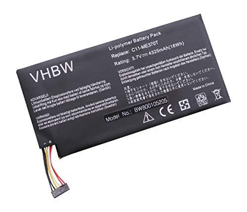 Batterie 4300mAh pour Asus ME301T-A1, MeMO Pad ME301T, Pad ME172V, Memo Smart PAD 10.1, Google Nexus 7 remplace C11-ME370T, ME3PNJ3, C11-ME370TG.