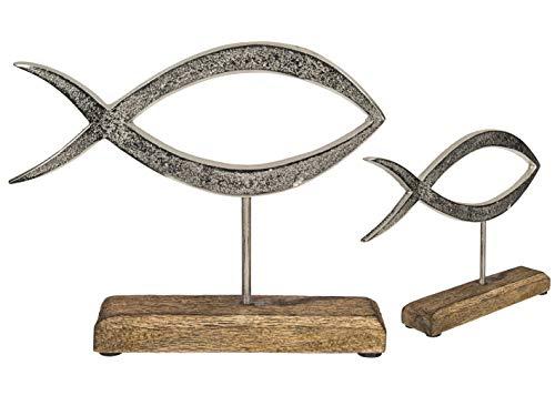 MC Trend Metall-Fisch auf Holz-Standfuß Wohn-Accessoires Kommunion-Zimmer-Deko Geschenk-Idee (Metall-Fisch auf Holz-Standfuß 23 x 18 cm)