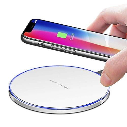 I-Sonite Weiß Qi-zertifiziertes, extrem schlankes, superschnelles 10-W-Metallrahmen-Wireless-Ladegerät, Station Pad und ultradünner Qi-Empfänger-Modul-Chip für BLU Win JR LTE