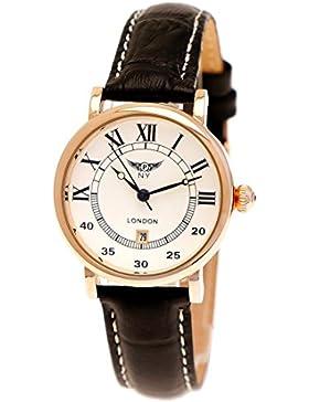Elegante Kleine NY London Damen-Uhr Analog Quarz Leder Armband-Uhr Klassisches Design Schwarz Rose-Gold mit Römischen...
