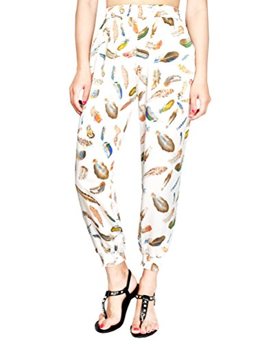 Vogstyle Damen Casual Bedruckte Strandhose Haremshosen Leggings Travel Beach Cropped Pants Style 3-Weiße Feder