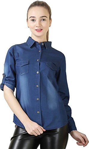 Trendy frog Women Long Sleeve Denim Monkey Wash Shirt Top, Blue, Medium Size
