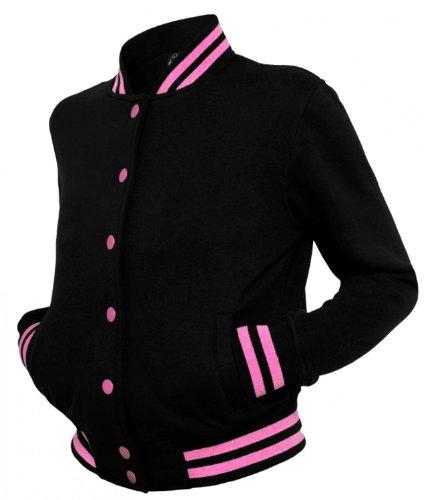 Urban Classics Dames Metallic College Sweatjacket TB357 Black/Fuchsia