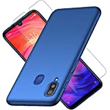 XIFAN Hülle + [2 Stück] 9H Gehärtetes Glas-Displayschutz für Xiaomi Redmi Note 7, Ultraleichter Hard PC Hülle, Seidenmatte Lackierung Schutzhandytasche. Blau