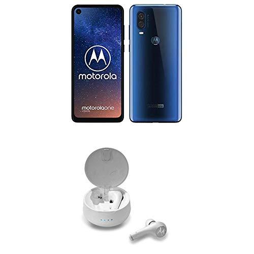 "Motorola One Vision Dual SIM, 128GB, 48MP, Android 9 Pie, Display CinemaVision FHD+ da 6,3"", Blu (Sapphire Blue) + Earbuds Moto Buzz Verve 500 Bianche"
