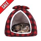 Ohana Plaid Igloo Cama de Gato Polar pequeño Perro casa Cama Elegante pirámide Cueva Cama para Cachorro y Gatito Rojo