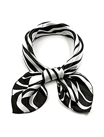 sourcingmap® Women Square Shaped Zebra Prints Casual Scarf Black