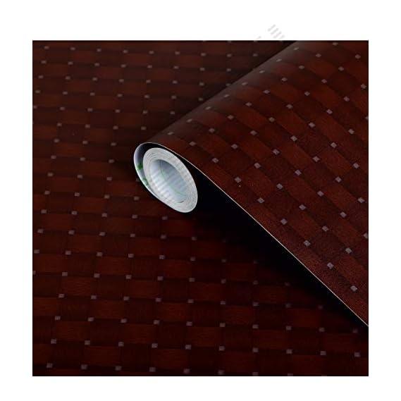 CVANU Self Adhesive Wood Grain Wallpaper Waterproof Old Furniture Vinyl Stickers Wooden Door Wardrobe Desktop PVC Wall Papers Cv13 12''x50''inch