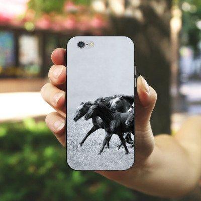Apple iPhone 5s Housse Étui Protection Coque Chevaux Cheval Mustang Housse en silicone noir / blanc