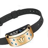 PetInn Wiederaufladbar Anti Bell Halsband mit Licht und 7 Empfindlichkeit Vibration und Ton für Alle Größe Hunde Golden,mit Deutsche Anleitung
