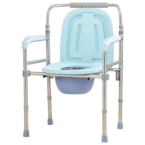 WYF Faltender Beweglicher Toilettenstuhl mit Toilettensitz-Bad-Stuhl-Schemel Für Schwangere Frauen Alter Mann und Behinderter-Edelstahl