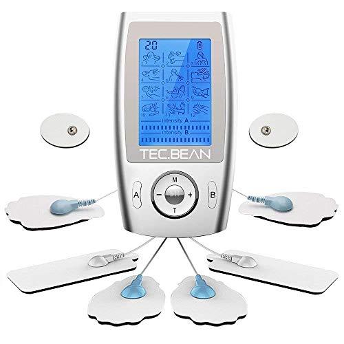 Tec.bean tens elettrostimolatore muscolare professionale ricaricabile massaggiatore a impulsi con modalità pre-programmate, canali a/b, con 8 pad per il trattamento del dolore e riabilitazione