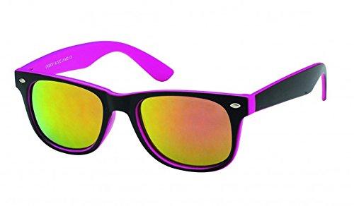 Chic-Net Sonnenbrille Wayfarer Nerdbrille verspiegelt 400UV außen schwarz innen farbig pink