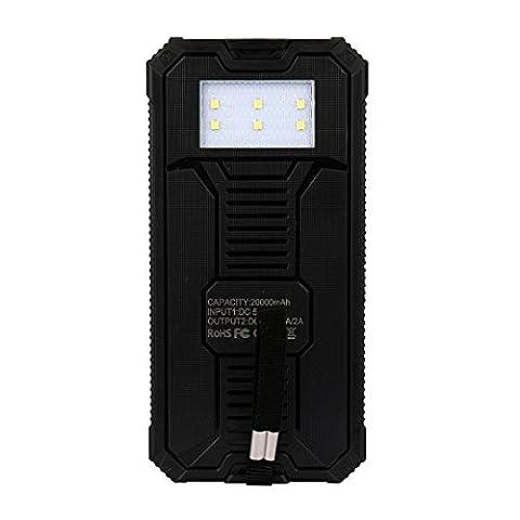Gaddrt Portable externe 20000mAh Dual USB chargeur de batterie solaire Power Bank pour téléphone (Noir)