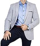 Armina Exclusive Herren Sakko Leichter Stoff Blazer Einknopf Jackett Regular Fit Anzug klassisch, Größe 58, grau