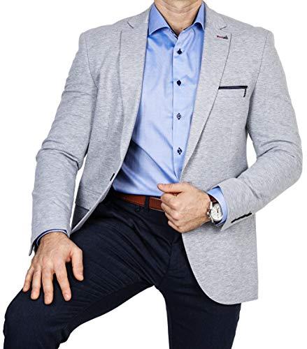 Stoff Blazer (Armina Exclusive Herren Sakko Leichter Stoff Blazer Einknopf Jackett Regular Fit Anzug klassisch, Größe 50, grau)