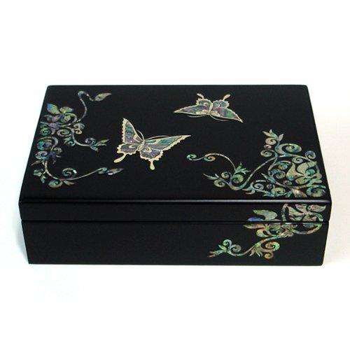 Mère de perle papillon asiatique en bois noir laqué Femme Petit Miroir de voyage Bijoux Boîte à bijoux Trésor Souvenir cadeau filles Bijoux Bague Boîte Poitrine Étui organiseur