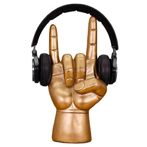 Rock On Kopfhörer-Ständer - Aufhänger für over-Ear-Kopfhörer & Ohrhörer, Einzigartiger Schreibtisch-Organizer - Gaming Headset Zubehör Halterung - Antikes Gold-Finish -