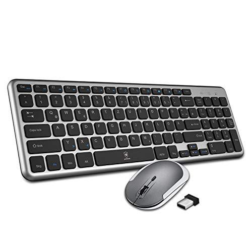 AURSEN Tastatur Maus Set Kabellos, 2.4GHz QWERTZ Deutsches Layout, Funkmaus und Tastatur mit USB Empfänger für Laptop,PC, Mac und iOS