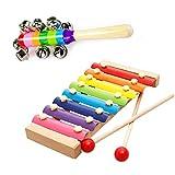 Xilofono per bambini neonati, Glockenspiel xilofono sviluppo giocattoli educativi strumento musicale in legno con sonagli 1pezzi colorati arcobaleno carrozzina culla manico Jingle Bells