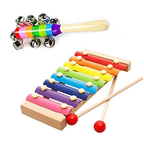 Xylophon für Kinder und Babys, Holz-Xylophon, Glockenspiel, Musikinstrument, Lernspielzeug, mit 1 Stück, bunte Rasseln, Regenbogen-Kinderwagen, Krippengriff, Klingelglocken