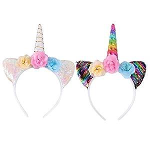 Minkissy 2pcs diademas de unicornio,