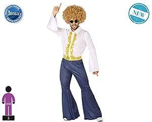 Atosa-61406 Atosa-61406-Disfraz Disco-Adulto Hombre, Color dorado, XL (61406