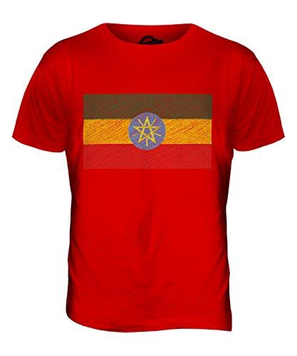 CandyMix Äthiopien Kritzelte Flagge Herren T Shirt Rot