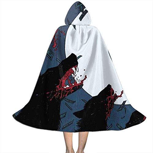 Kap Mit Kapuze,Kinder Umhang Hut,Hexengewand,Vampir Kleid Umhang, Hund Wolf Mond Ritter Geld Halloween Kapuzen Cape Mantel Vampire Kostüme (Großer Hunde Wolf Kostüm)