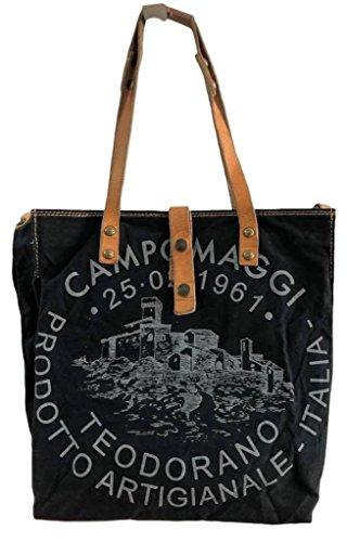 df26324ac Campomaggi - Bolso de tela de Cuero para mujer Negro negro/gris