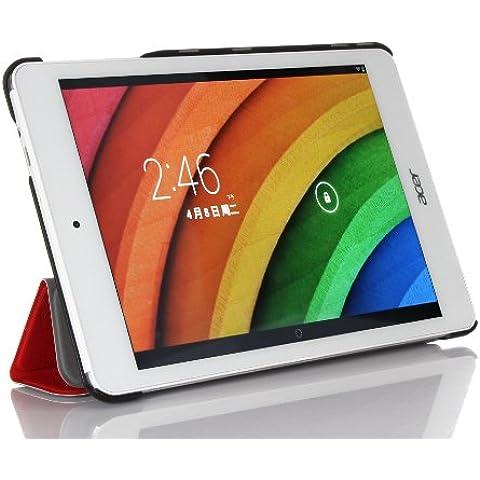 ELTD® Funda de piel de cuerpo entero para Acer Iconia Tab 8 A1-840 FHD Tablet con Auto Sleep/Wake Function (Para Acer Iconia Tab 8 A1-840, Rojo