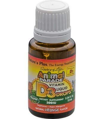 Natures Plus Animal Parade Vitamin D3 200IU Liquid Drops Orange Flavour