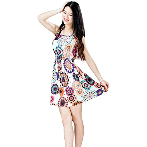 Transer ® 1PC femmes Retro Summer manches Tournesol Lady Casual Dating Mini-robe de plage(S-XXL) une fleur