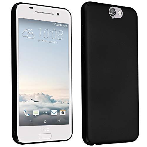 Cadorabo Hülle für HTC One A9 - Hülle in Metall SCHWARZ - Hardcase Handyhülle im Matt Metal Design - Schutzhülle Bumper Back Case Cover