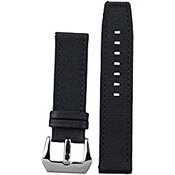 22mm Black Luxury Ballistic Nylon Watch Bands Straps Replacements 2 pieces Textile Military Look