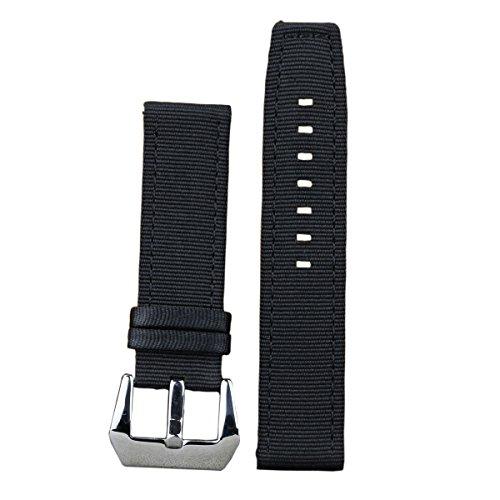 22 mm di lusso nero cinturini per orologi in nylon balistico cinghie sostituzioni look militare 2 pezzi tessile