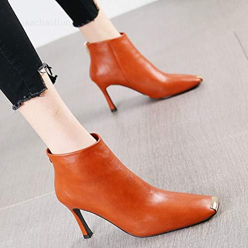 HRCxue Pumps Mode Metall quadratischen Kopf Stiletto Heels Stiefel nackte Stiefel Wild Beige weißen Reißverschluss Martin Stiefel weiblich, 34, Kürbis rot -