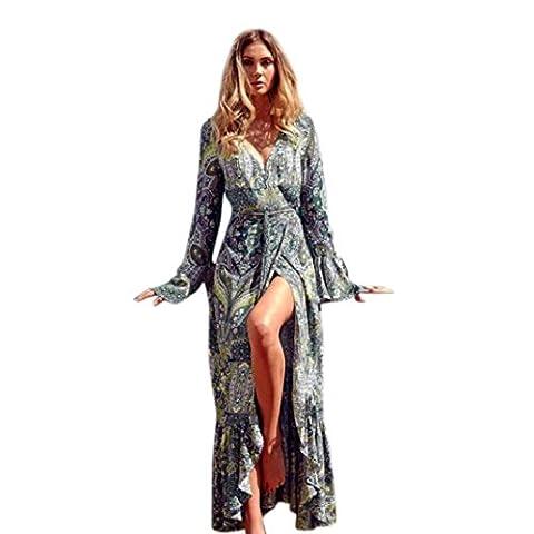 Manadlian ♥ Damen Kleider ♥ Frauen Blumendruck Sommer V-Ausschnitt Maxi Kleider (L, Grün)