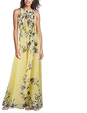 Verano sin mangas colgante cuello impreso vestido Maasik largo falda vestido